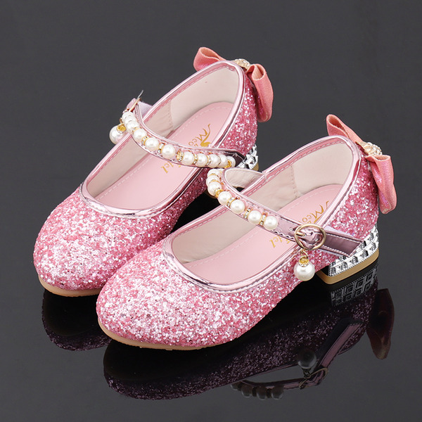 Girl's Round Toe Sparkling Glitter Flower Girl Shoes With Beading Bowknot Crystal Pearl