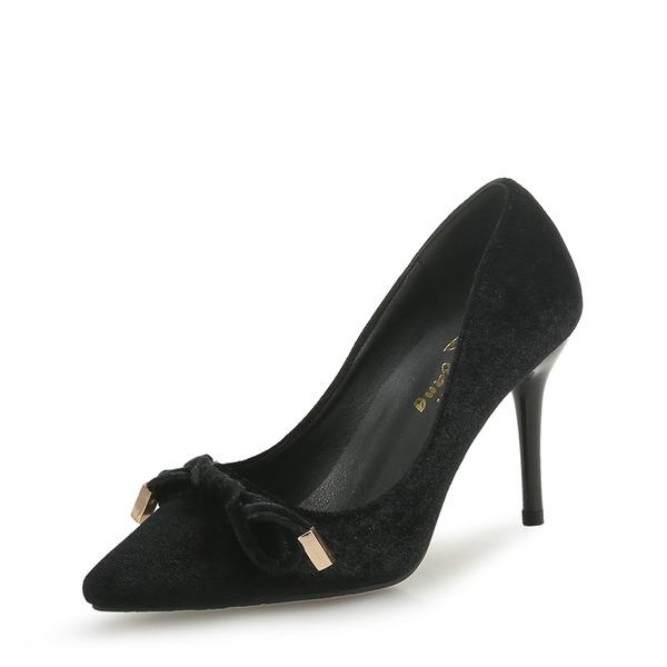 Femmes Velours Talon stiletto Escarpins Bout fermé avec Bowknot chaussures