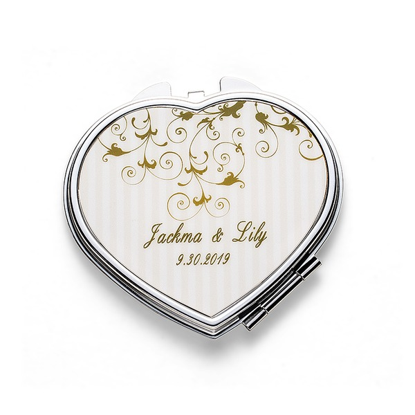 Personalized Heart-shaped Stainless Steel Compact Mirror