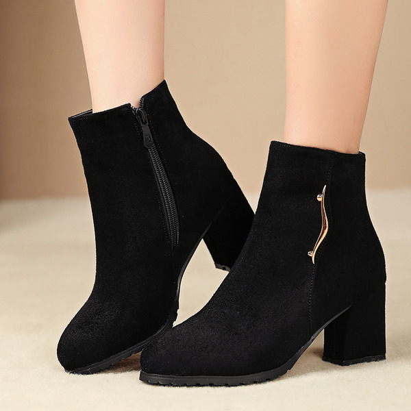 Chunky Heel Flats Wedges Slippers With Zipper shoes