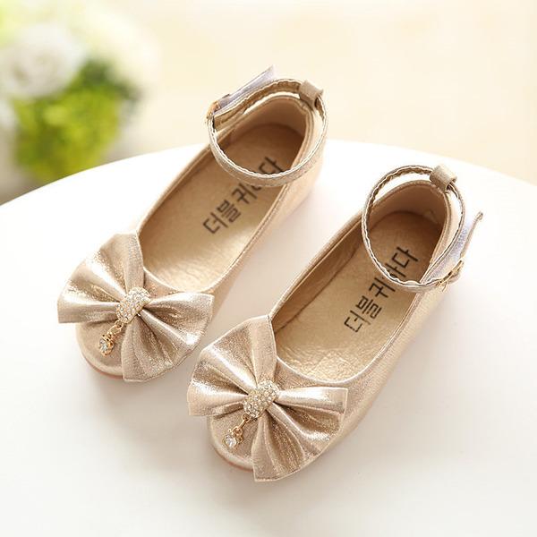 A menina de Fechados imitação de couro Heel plana Sem salto Sapatas do florista com Bowknot Strass
