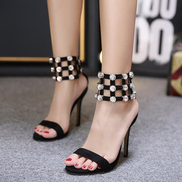 Femmes Suède Talon stiletto Sandales Escarpins Mary Jane avec Strass Ouvertes chaussures