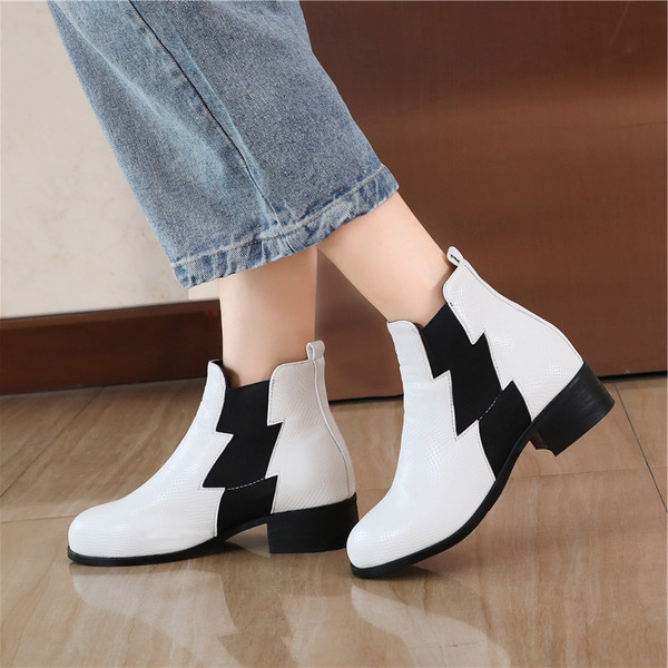 Leatherette Chunky Heel Ankle Boots With Split Joint shoes