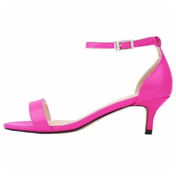 Vrouwen Patent Leather Low Heel Sandalen Peep Toe schoenen