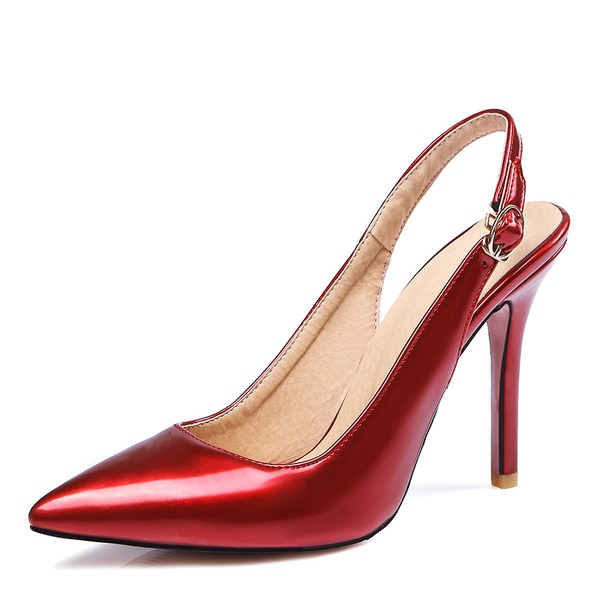 Women's Leatherette Stiletto Heel Pumps Closed Toe Slingbacks With Buckle shoes