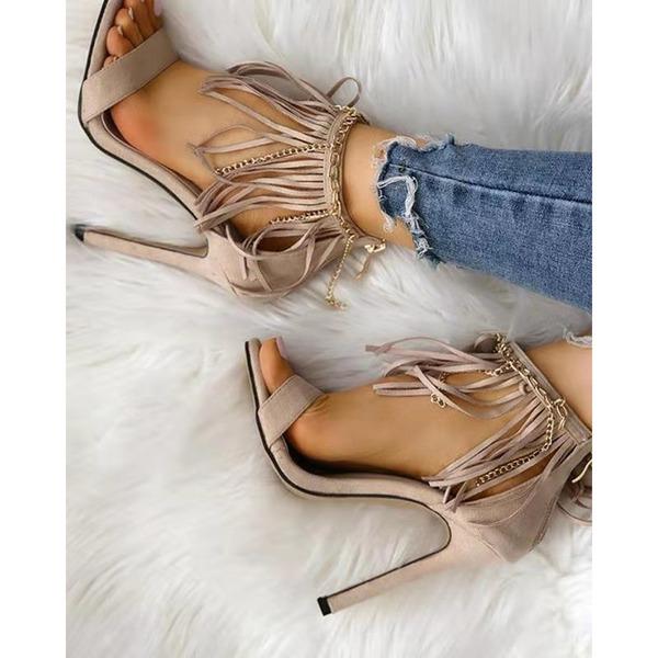 Mulheres PU Salto agulha Sandálias com Franja sapatos