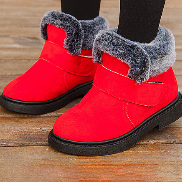 Girl's Snow Boots Ankle Boots Suede Boots With Velcro
