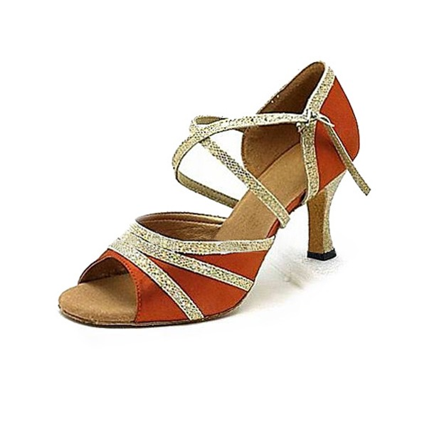 Femmes Satiné Pailletes scintillantes Talons Latin Chaussures de danse