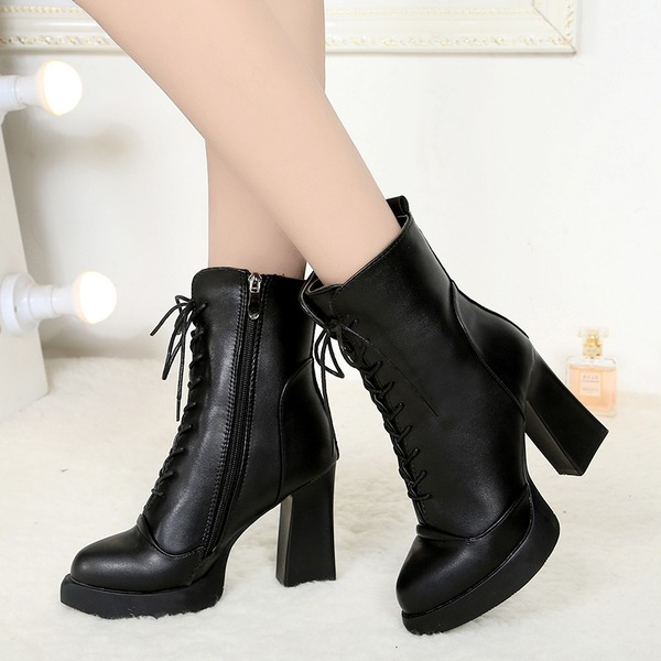 Mulheres Camurça Salto robusto Fechados Botas Bota no tornozelo Martin botas com Aplicação de renda sapatos