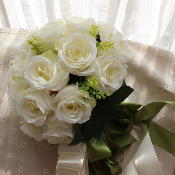 Elegante Redondo Satén Ramos de novia (vendido en una sola pieza) - Ramos de novia