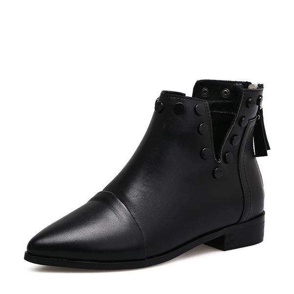Kvinnor PU Låg Klack Stövlar Boots med Nita Zipper Tofs skor