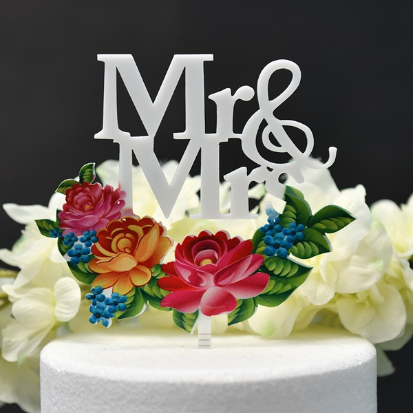 Pareja Clásica/Mr & Mrs/Flor Acrílico Decoración de tortas (Sold in a single piece)