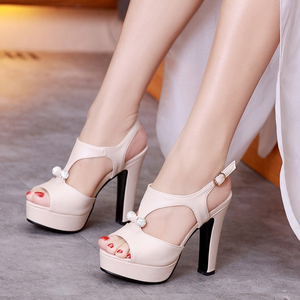 Women's Leatherette Stiletto Heel Sandals Platform Peep Toe Slingbacks With Rhinestone shoes