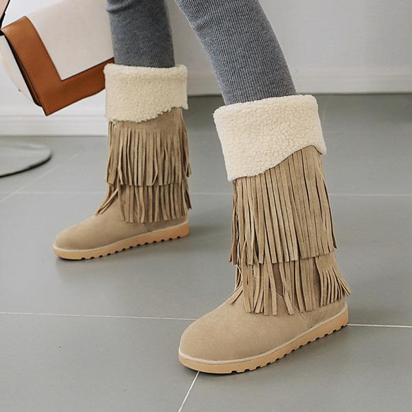 Vrouwen Suede Flat Heel Plateau Laarzen Half-Kuit Laarzen met Tassel schoenen