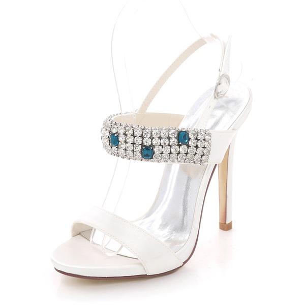 Women's Silk Like Satin Stiletto Heel Platform Pumps Sandals With Rhinestone