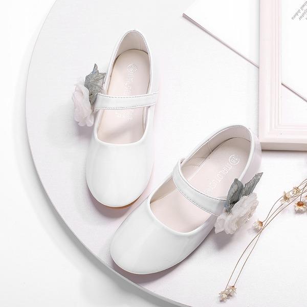 Jentas Round Toe Lukket Tå Leather Flate sko med Velcro Blomst