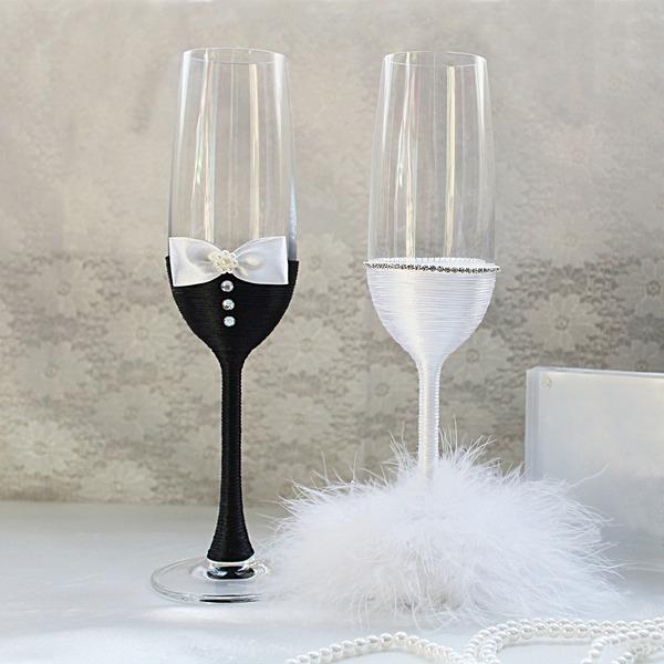Få tillsammans Glas Rostning Flöjter (Sats Om 2)