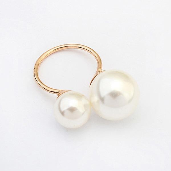 Schöne Legierung mit Nachahmungen von Perlen Mädchen Mode Ringe