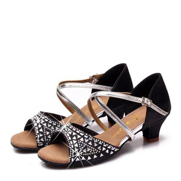 Kinder Satin Flache Schuhe Latin mit Strass Tanzschuhe