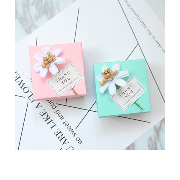 Card Paper Favor Boxes & Containers With Ribbons (Set of 50)