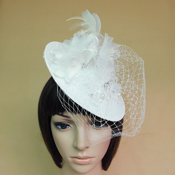 Dames Beau/Magnifique/Charmant/Mode/Spécial/Glamour/Style Classique/Élégante/Unique/Simple/Exquis Feather/Strass/Tulle/Mousseline de soie avec Feather/Strass/Une fleur Chapeaux de type fascinator