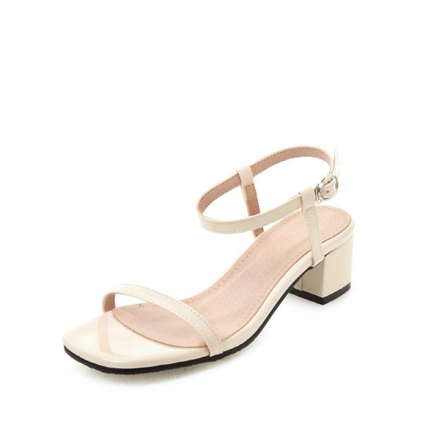 Женщины Лакированная кожа Устойчивый каблук Сандалии Открытый мыс Босоножки с пряжка обувь