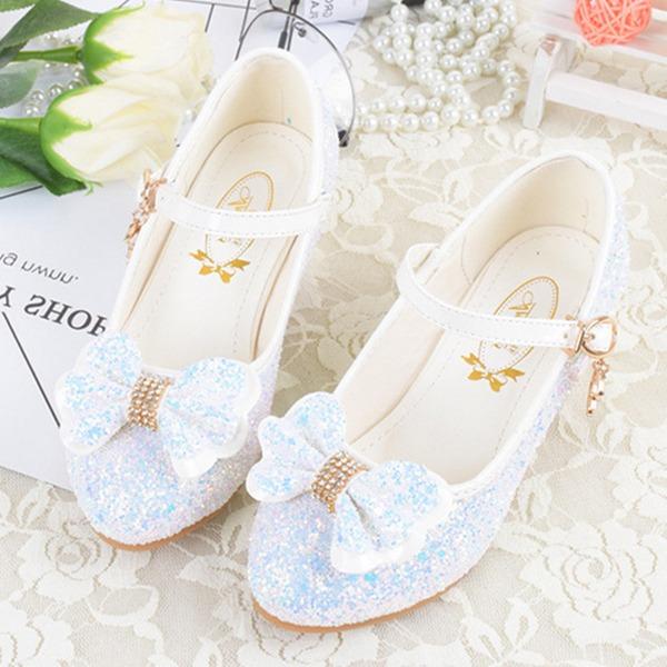 Fille de Bout fermé similicuir Low Heel Chaussures de fille de fleur avec Bowknot Boucle Pailletes scintillantes