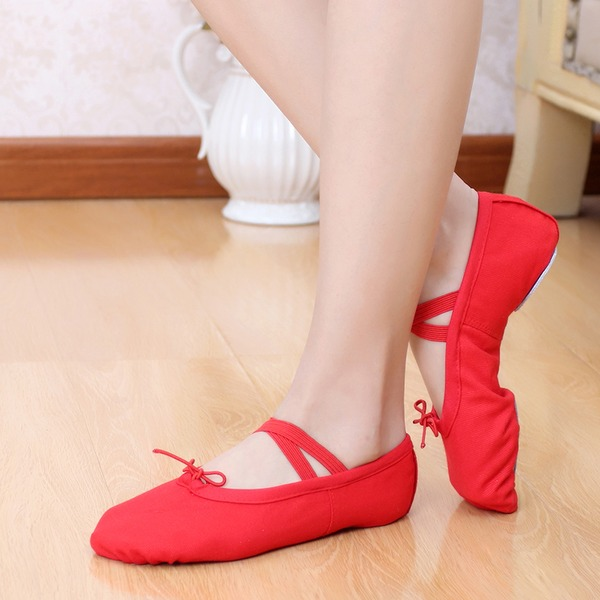 Женщины Холст На плокой подошве Балет Обувь для танцев