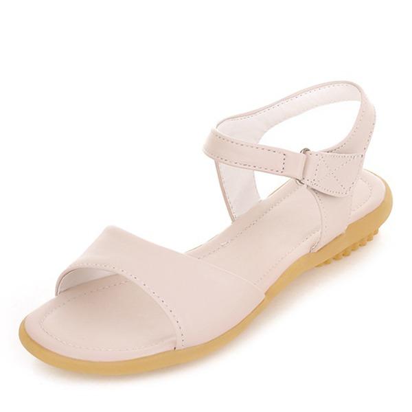 Vrouwen Kunstleer Flat Heel Sandalen Flats Peep Toe Slingbacks met Velcro schoenen