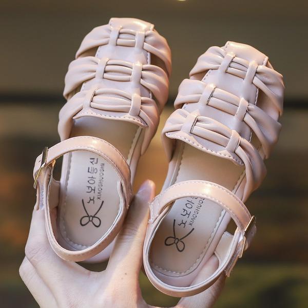 Girl's Ronde neus Closed Toe imitatieleer Flat Heel Flats Bloemenmeisje schoenen met strik Velcro