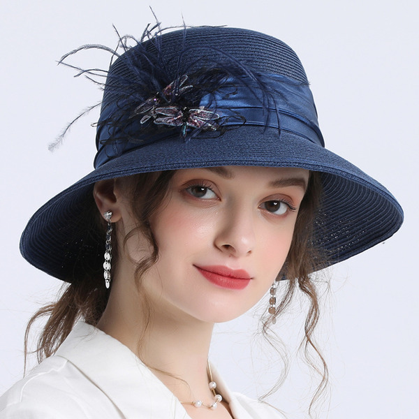 Ladies ' Jednoduchý/Fantazie Papyrus S Pírko Slaměný klobouk/Pláž / sluneční klobouky