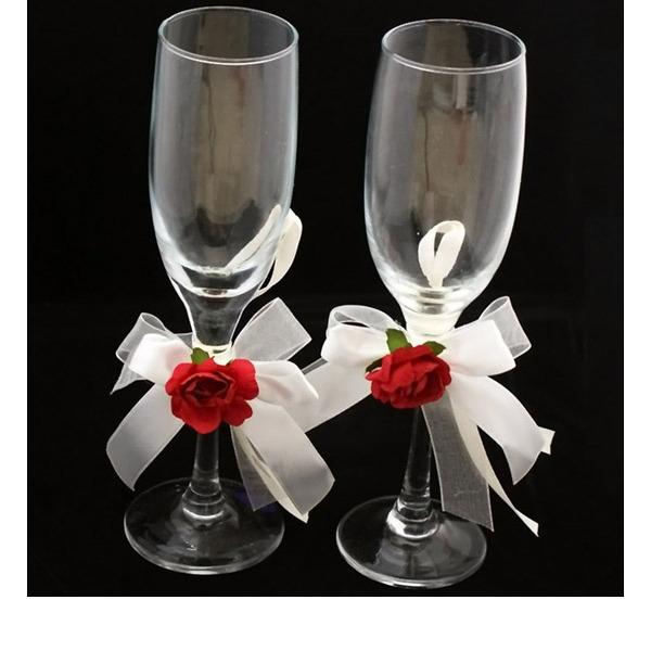 Eleganta Blyfritt glas Rostning Flöjter (Sats Om 2)