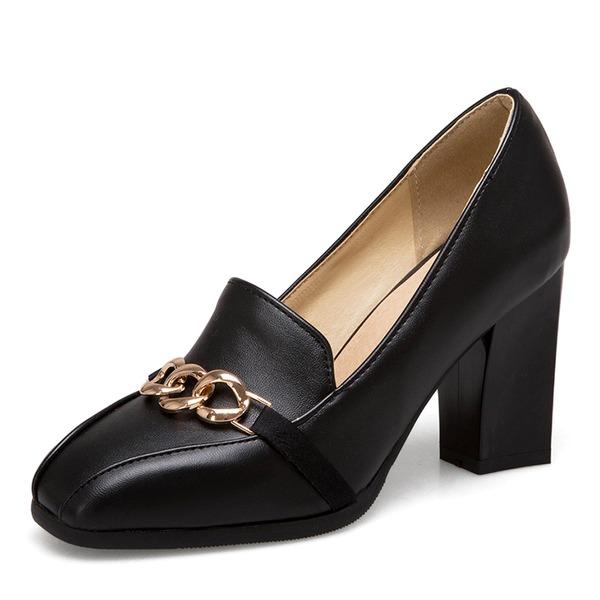 De mujer Cuero Tacón ancho Salón con Cadena zapatos