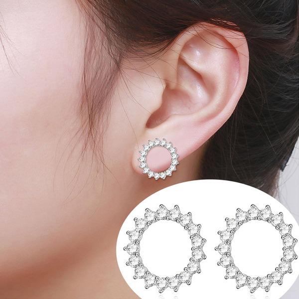 Style Classique Zircon de argent avec Zircon de Dames Boucles d'oreille de mode (Lot de 2)