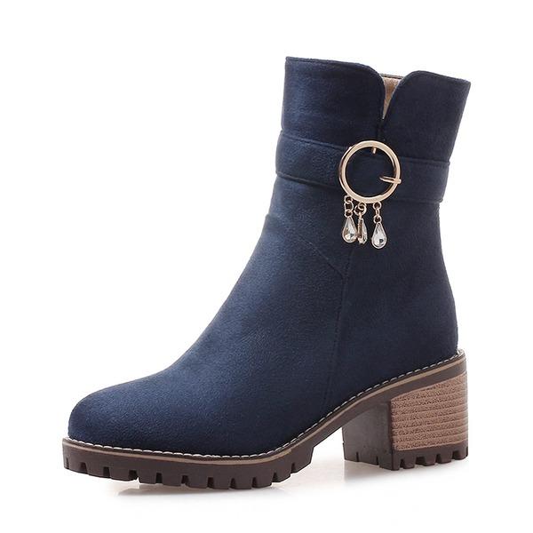 Kvinder Ruskind Stor Hæl Pumps Lukket Tå Støvler Mid Læggen Støvler med Rhinsten Spænde sko