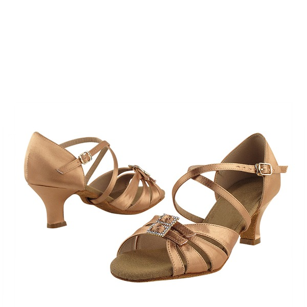 Saten Topuk Latin Ile Yapay elmas Toka Dans Ayakkabıları
