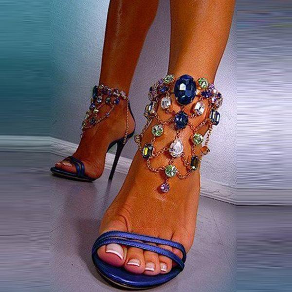 Femmes Similicuir Talon stiletto Sandales avec Cristal Zip chaussures