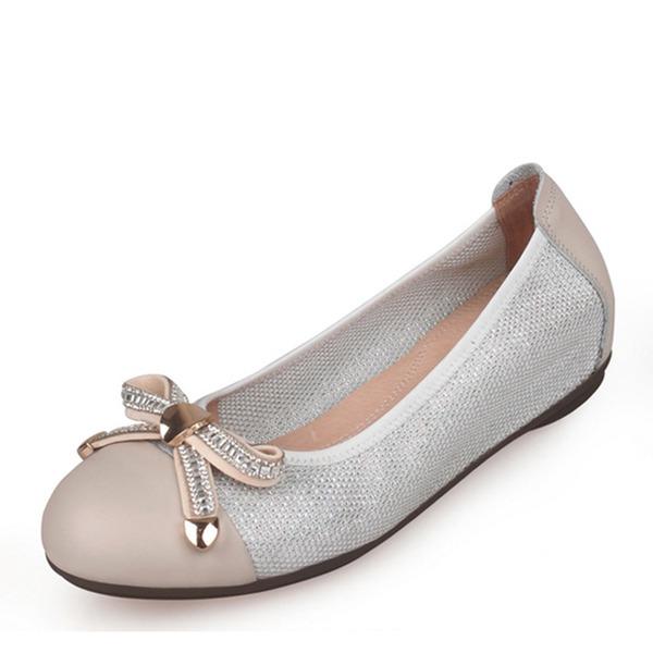 Frauen Echtleder Mesh Flascher Absatz Flache Schuhe Geschlossene Zehe mit Bowknot Schuhe
