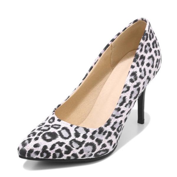 Mulheres Camurça Salto agulha Bombas Fechados com Animal da Cópia sapatos