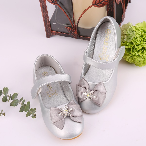 Girl's Round Toe Ballet Flat Microfiber Leather Flat Heel Flats Flower Girl Shoes With Bowknot Rhinestone Velcro