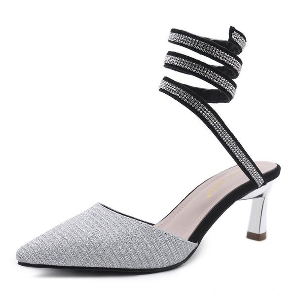 Donna Similpelle Tacco a spillo Sandalo Piattaforma Con cinturino con Strass Cava-out scarpe