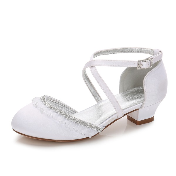 Girl's Round Toe Closed Toe Mary Jane Silk Like Satin Low Heel Flower Girl Shoes With Rhinestone Ruffles Ruched