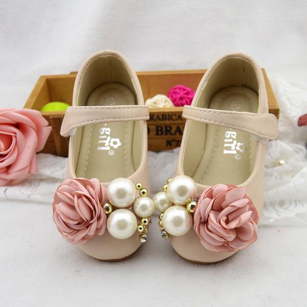 Fille de bout rond Mary Jane similicuir talon plat Chaussures de fille de fleur avec Perle d'imitation Fleur en satin Velcro