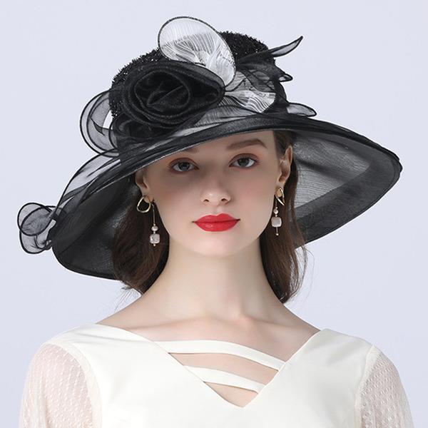 Dames Le plus chaud/Romantique Organza avec Fleur en soie Chapeaux de plage / soleil/Chapeaux Tea Party