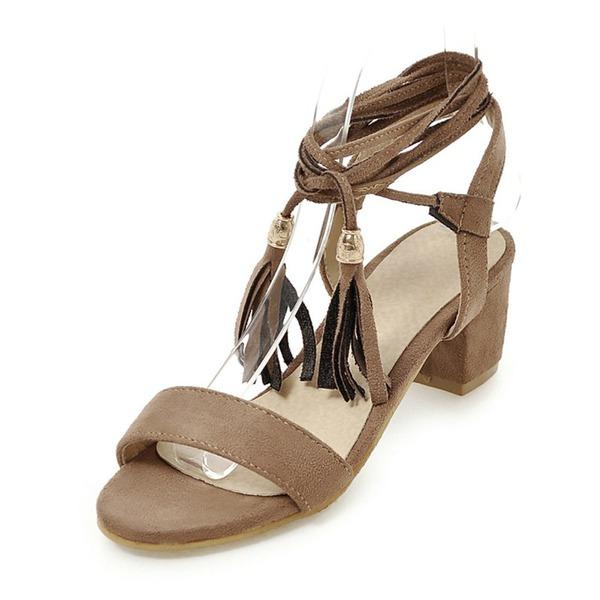 Mulheres Camurça Salto agulha Sandálias Bombas Peep toe com Aplicação de renda sapatos
