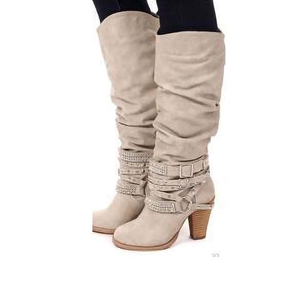 Donna Similpelle Tacco spesso Stiletto Stivali con Increspature scarpe
