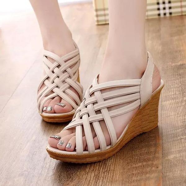Kadın Suni deri Dolgu Topuk Sandalet Takozlar Peep Toe Arkası açık iskarpin Ile Diğerleri ayakkabı