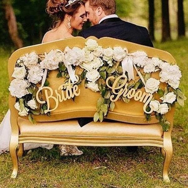 Enkel/Klassisk stil/Brud och Brudgum Trä Bröllop Sign (sats om 2)