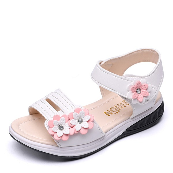 Ragazze Punta aperta finta pelle Heel piatto Sandalo Ballerine Scarpe Flower Girl con Velcro Fiore