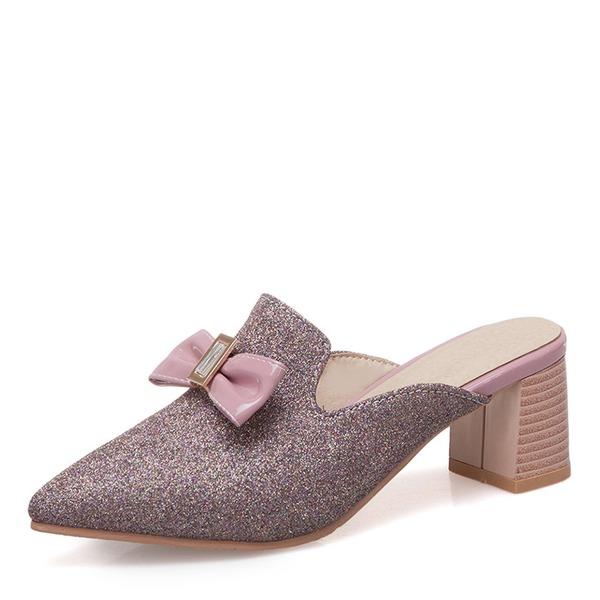 Vrouwen Kunstleer Chunky Heel Closed Toe Slippers met strik Lovertje schoenen